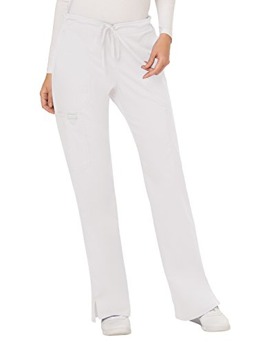Cherokee Women's Mid Rise Moderate Flare Drawstring Pant, White, M