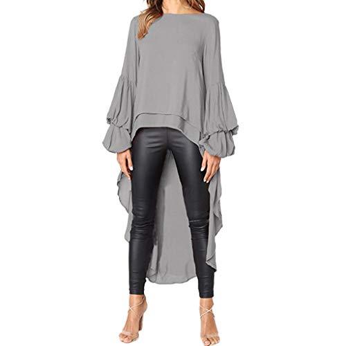 DOINSHOP Shirt Dress Women Irregular Ruffles Long Sleeve High Low Peplum Asymmetrical Hem Top Blouse (Gray, XL)