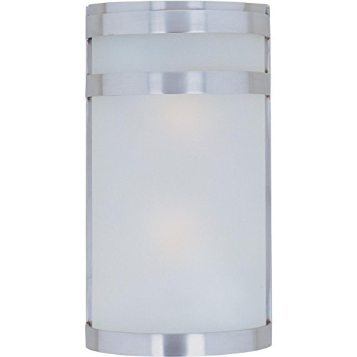 - Maxim 5002FTSST Arc 2-Light Outdoor Wall Sconce Lantern, Stainless Steel Finish, Frosted Glass, MB Incandescent Incandescent Bulb , 60W Max., Dry Safety Rating, Standard Dimmable, Glass Shade Material, Rated Lumens