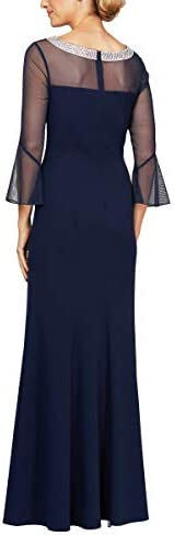 Alex Evenings Robe longue avec décolleté illusion pour femme (petite et régulière) -  Bleu -  48