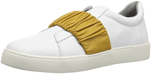 Nine West Womens Pindiviah Leather Sneaker White/Yellow Leather