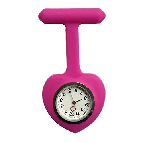 Silicone Nurse Love Heart Shape Watch Pocket Brooch Clip Medical Nurse Pocket Nursing Watch LL@17 rose - Optimus Silicone 3d