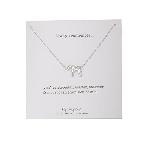 [My Very Best Elephant Necklace (silver plated brass)] (Brass Elephant Charm)