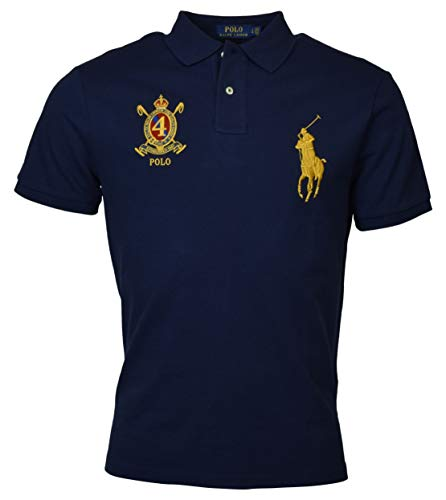 Polo Ralph Lauren Mens Custom Slim Fit Big Pony Crest Polo Shirt (Large, Darky - Ralph Golf Shoes Lauren