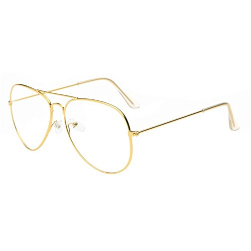 SMYTSHOP Men Women Clear Lens Glasses Plain Glasses Metal Spectacle Frame Myopia Eyeglasses Lunette Shape Sunglasses (Gold Frame, Clear - Lunettes Glasses