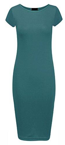 Teal Women's Clothes Scoop Cap ZJ Neck Sleeve Midi Dress A8Hqn5w