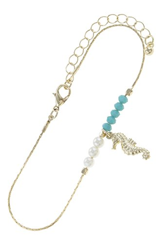 THE JEWEL RACK SEA HORSE CHARM DELICATE BEADED ANKLET - Brighton Accessories Outlet