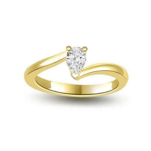 0.35ct F/VS1 Bague de fiançailles solitaire en diamant pour femme coupe Poire diamants en 18ct or jaune