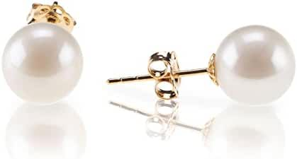 PAVOI 18K Gold Plated Sterling Silver Round Stud White Simulated Shell Pearl Earrings