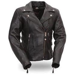 First Manufacturing Women's Boulevard Motorcycle Jacket (Black, Medium)