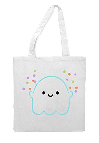 Cute Bag Character Tote Shopper Ghost Halloween Confetti White SawSqr
