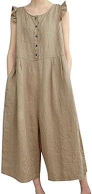 Eoailr Women's Baggy Plus Size Overalls Cotton Linen Jumpsuits Wide Leg Harem Pants Casual Rompers with Po