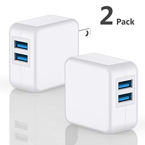 USB Wall Charger Brick, DECIPA 2-Pack 2.1A/5V Dual USB Plug Power Adapter Charger Box Charging Cube for iPhone X 8 7 6 6S Plus, 5S, iPad, iPod, Samsung Galaxy S8 S7 S6 Edge, LG, Moto, HTC