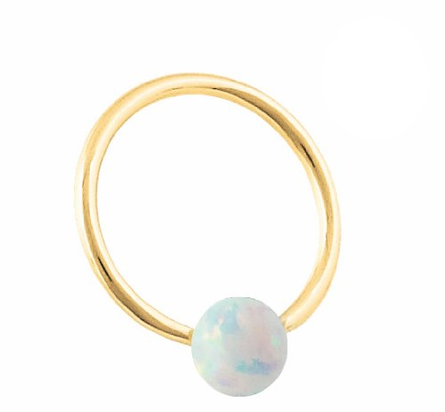 Solid Gold Captive Bead Ring - 9
