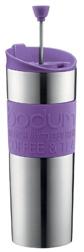 Bodum Double-Wall Stainless Steel Travel Coffee and Tea Press with Bonus Lid, 0.45L, 16oz, Purple
