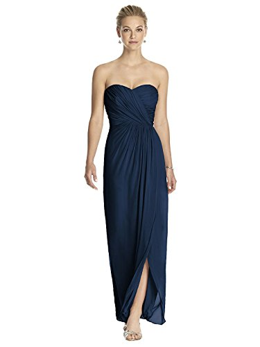 (Dessy Women's Full Length Strapless Lux Chiffon Dress w/Sweetheart Neckline by Midnight, Size (10R))