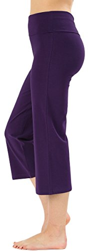 ToBeInStyle Women's Cropped Yoga Sweatpants Bermuda Capris w/Fold Over Waistband (Small, Purple)