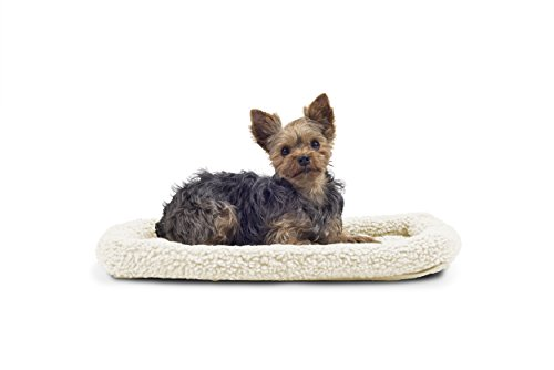 FurHaven Pet Kennel Pad | Faux Lambswool & Sherpa Bolster Pet Bed for Kennels & Crates, Cream, ()