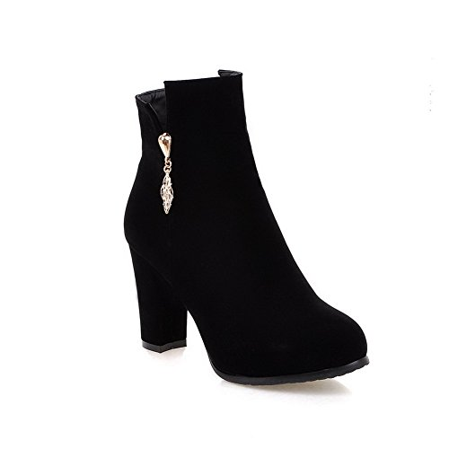 Low Allhqfashion Closed Toe Zipper Women's Boots top Heels High Solid Round Black UUH5Ynw