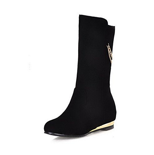 Allhqfashion Women's Pull-on Kitten-Heels Imitated Suede Solid Low-top Boots Black EeHX2UDNT