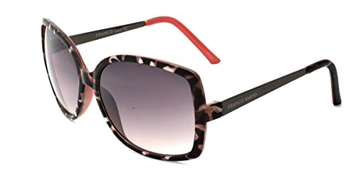 Franco Sarto Women's Butterfly Sunglasses, White Tortoise Pink Interior Frame, APG Smoke Flash Mirror Lens, - Sunglasses Franco
