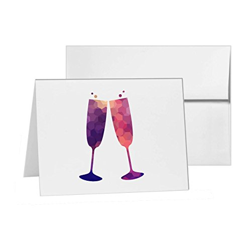 Champagne Toast Flutes Romatic Toasting, Blank Card Invitation Pack, 15 cards at 4x6, Blank with White Envelopes Style ()