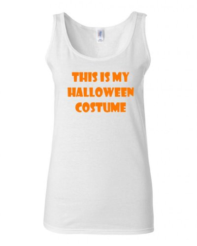 Junior This Is My Halloween Costume Graphic Novelty Tank Top (XXX Large, White (Party City Halloween Costumes For Juniors)