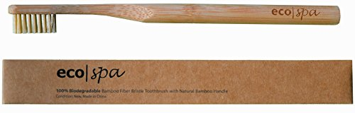 Eco-Friendly Bamboo Toothbrush with BPA-Free Soft Nylon Bristles Infused with Natural Bamboo Fibers, Support Plastic-Free Movement with 100% Biodegradable Zero Waste Handle & Package, Single Brush - 100% Nylon Fibers