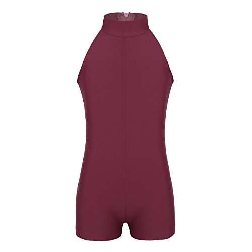 FEESHOW Girls Turtleneck Leotard Zipper Back Gymnastic Ballet Dance Unitard Bodysuit Biketard Athletic Sports Outfit Burgundy 10-12 (Zipper Dance)