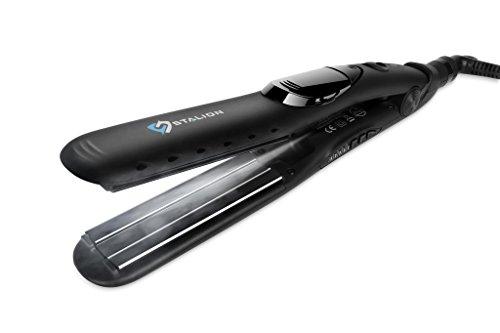"Stalion Steam Hair Straightener Tourmaline Ceramic Flat Iron Professional Performance Styler for all Hair Types (Black 1"" Plates)"