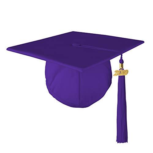 Adult Unisex Matte Graduation Cap with 2019 Tassel, Purple