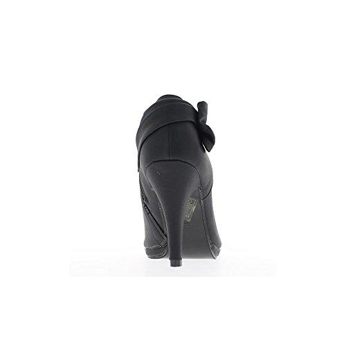 Bottines femme noires à talon de 10cm bout ouvert