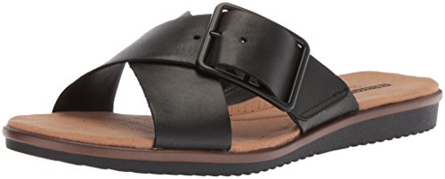 Heather Leather Flat Black Sandals Clarks Women's Kele ECpSq