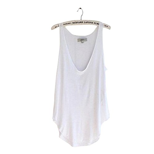 UPLOTER Summer Woman Lady Sleeveless V-Neck Candy Vest Loose Tank Tops T-shirt (White)