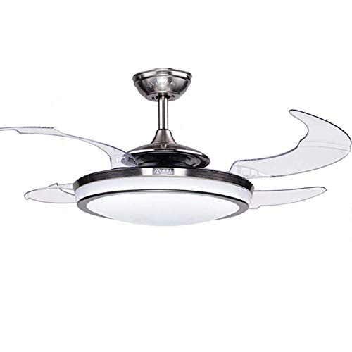 Fandian 48 Modern Ceiling Fan with Light Remote Control Retractable Blades for Living Room Bedroom Restaurant, Brush Chrome with Silent Motor