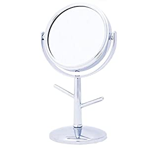 Danielle Creations Mini Vanity Mirror with Ring Holder Stems, 4x Magnification