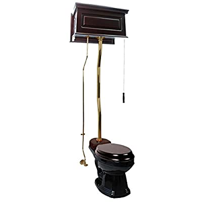 Dark Oak High Tank Toilet With Elongated Black China Bowl And Brass Z-Pipe
