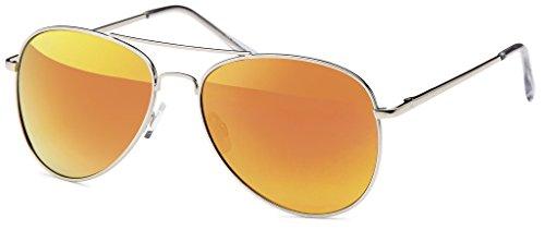 Gafas de Glas Hatstar Silver para hombre Orange 78 Verspiegelt sol Rahmen f4xw7