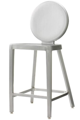 Samantha Counter Stool, COUNTER HEIGHT, BRUSH ALUMINUM (Crate Barrel Aluminum Stools And)