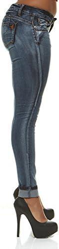 V.I.P. Jeans Cintura Baja Butt Lifter Skinny Slim Fit–Elástico jeans para mujer con extra Lift de banda ajustable