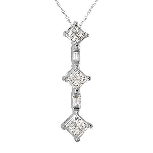 0.33 Carat Natural Diamond 18K White Gold Journey Pendant Necklace for Women