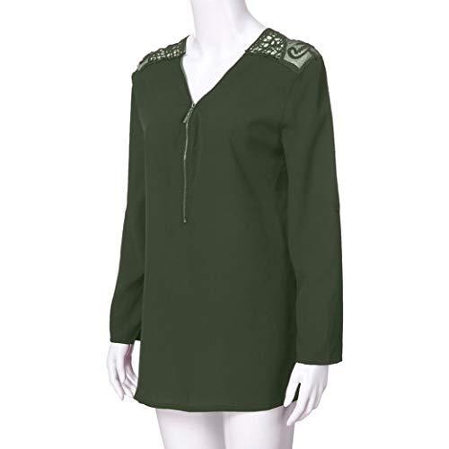 Shirt Oberteile Sommer Reißverschluss Armeegrün Damen 6 T Tank Tops Frauen DOLDOA x86A1OYn