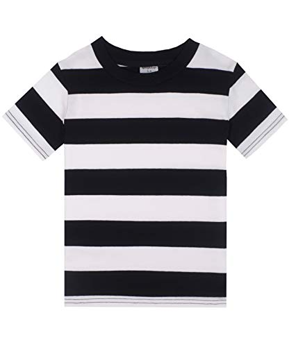Spring&Gege Boys' Short Sleeve Striped T-Shirt Cotton Crew Neck Tees, Black and White Stripes, 5-6 Years