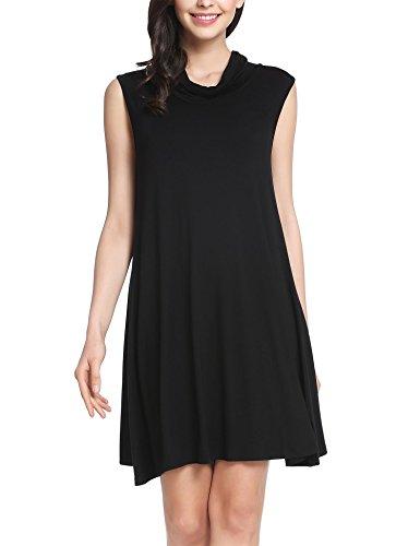 Zeagoo Women Loose Sleeveless Cowl Neck Mini Dress Shift Dress Black L (Shift Cowl Neck Dress)