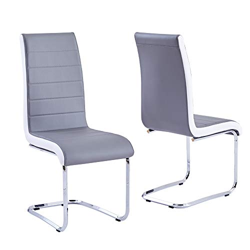 Modern Dining Chairs Set of 2, Grey White Side Dining Room Chairs, Kitchen Chairs with Faux Leather Padded Seat High Back and Sturdy Chrome Legs,Dining Set for Dining Room,Kitchen, Living Room