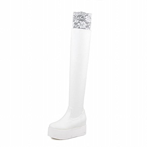 Carolbar Womens Lace Lolita Cosplay Fashion Elegance Platform Hidden Heel Tall Dress Boots White