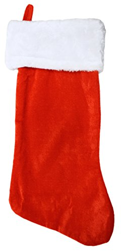 Set of 24 Christmas 19'' Red Velvet Stockings W/ White Plush Cuff & Hanging Tag (24) by Black Duck Brand (Image #1)