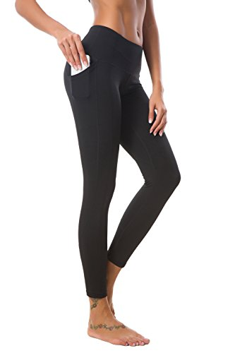 Crafeel Womens High Waisted Pockets Yoga Pants Fitness Gym Workout Leggings Running Tights  Black Small