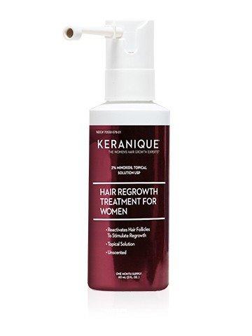 Spray de boquilla extendida para el tratamiento de rebrote del cabello Keranique - 2% Minoxidil, 2 Fl Oz Suministro para 30 días - Vuelva a crecer el cabello de aspecto más grueso, ayuda a revitalizar los folículos capilares