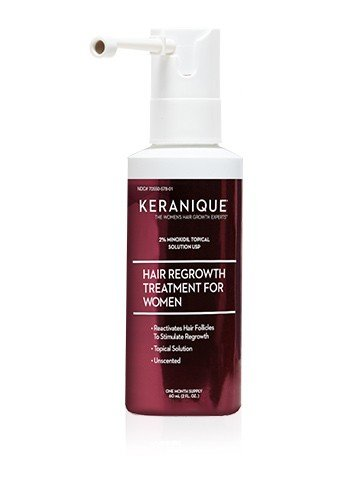 (Keranique Hair Regrowth Treatment Extended Nozzle Sprayer – 2% Minoxidil, 2 Fl Oz 30 Day Supply – Regrow Thicker-Looking Hair, Helps Revitalize Hair Follicles)